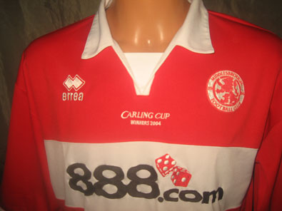 Middlesbrough home shirt 2004 Carling Cup Winner size XL #fv128