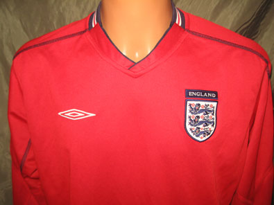 England away shirt 2002-2004 size L long sleeved reversible